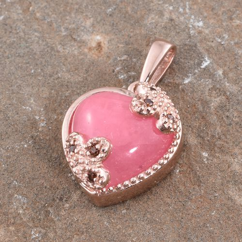 AAA Pink Jade (Hrt), Red Diamond Pendant in Rose Gold Overlay Sterling Silver 6.530 Ct.