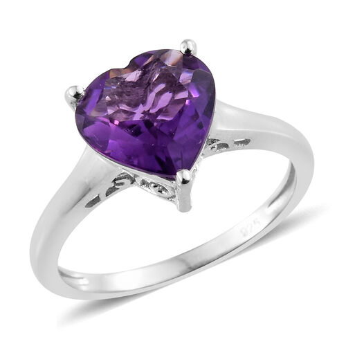 Amethyst 3 Ct Silver Heart Solitaire Ring in Platinum Overlay