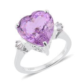 ILIANA 18K W Gold AAA Kunzite (Hrt 9.88 Ct), Diamond (SI/G-H) Ring 9.970 Ct.