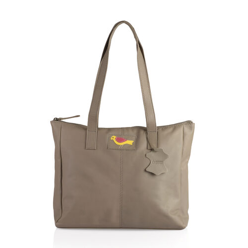 Set of Two -Marie Full Grain Genuine Leather Summer Sand Tote Bag with RFID Pouch (Size 31x9x28cm and 20x13cm)