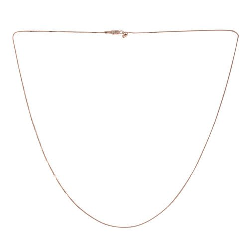 Close Out Deal Rose Gold Overlay Sterling Silver Box Chain (Size 24 with Adjustable)