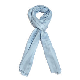 Limited Available - Super Soft- 100% Cashmere Wool Sky Blue Colour Scarf with Fringes (Size 200X70 Cm)