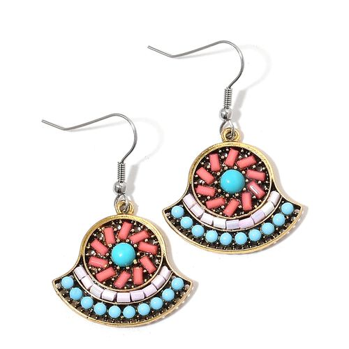 Simulated Sleeping Beauty Turquoise, Simulated Multi Colour Gem Stone and Orange Austrian Crystal Chinese Folding Fan Style Pendant with Chain (Size 28) and Hook Earrings in Silver and Gold Tone