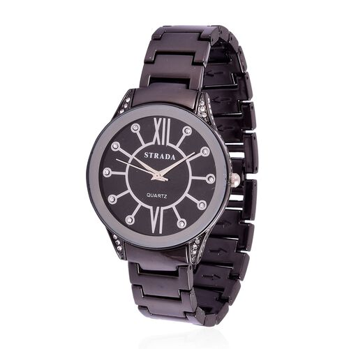 STRADA Japanese Movement White Austrian Crystal Studded Black Dial Water Resistant Watch in Black Tone with Stainless Steel Back and Chain Strap