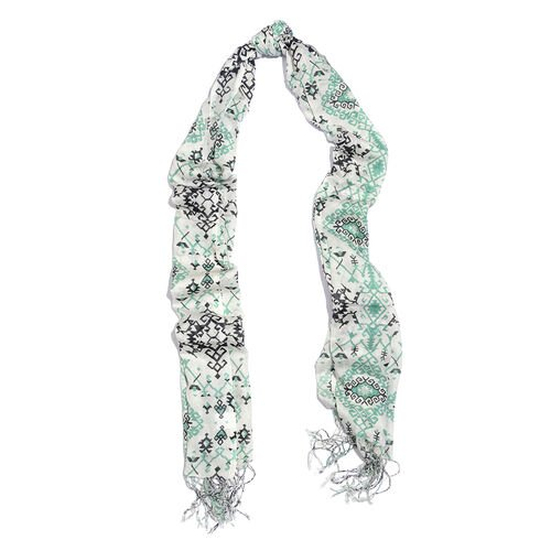 Green, Black and Off White Colour Printed Scarf with Tassels (Size 180X70 Cm)
