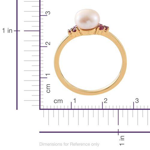 White Pearl, African Ruby Silver Ring in Gold Overlay