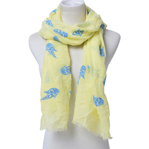 Set of 2 - Designer Inspired Paisley Pattern Light Grey and Yellow Colour Scarf (Size 180x70 Cm)