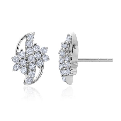 9K W Gold SGL Certified Diamond (Rnd) (I 3/G-H) Stud Earrings (with Push Back) 0.505 Ct.