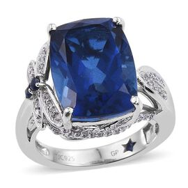 GP Ceylon Colour Quartz (Cush 11.20 Ct), Kanchanaburi Blue Sapphire and Natural Cambodian Zircon Ring in Platinum Overlay Sterling Silver 11.745 Ct. Silver wt 5.40 Gms.