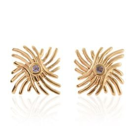 Tanzanite (Rnd) Earrings (with Push Back) in 14K Gold Overlay Sterling Silver