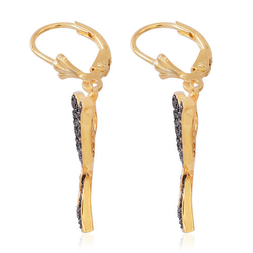 Boi Ploi Black Spinel (Rnd) Butterfly Lever Back Earrings in 14K Gold Overlay Sterling Silver 2.000 Ct.No of Stones 188 Pcs Silver wt 6.62 Gms.