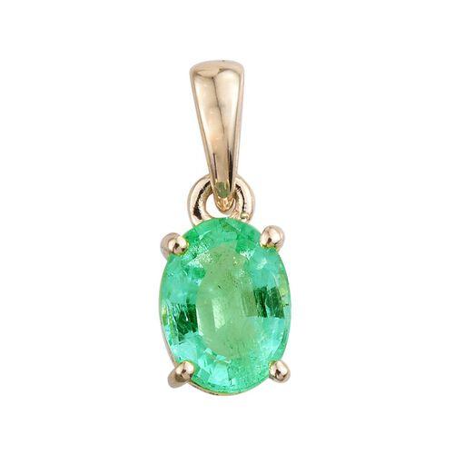 14K Y Gold Boyaca Colombian Emerald (Ovl) Solitaire Pendant 1.000 Ct.