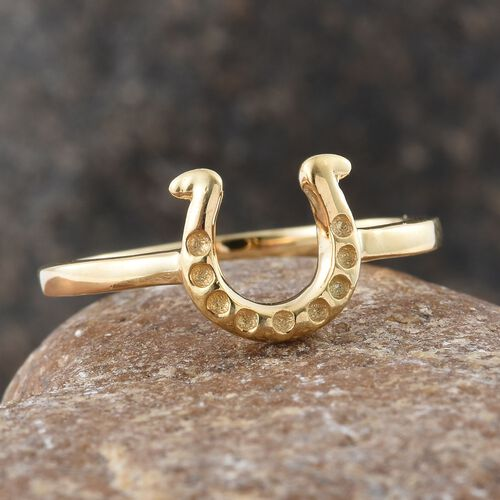 Silver Horseshoe Ring in Gold Overlay, Silver wt. 2.33 Gms.