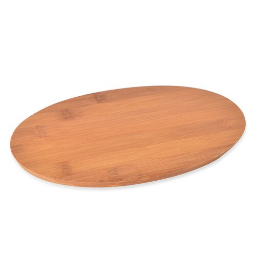 Kitchen Accessories - 3 Oval Ceramic Bowls (Size 8.5X4 Cm), Ceramic Tray (Size 30X24 Cm), Bamboo Board (23X15 Cm), 3 Fruit Folks, Cheese Knife and Cheese Fork in Stainless Steel