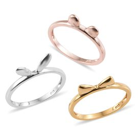 Set of 3 - Bunny, Cat and Mouse Ear Stack Rings in Platinum, Yellow Gold and Rose Gold Overlay Sterling Silver, Silver wt 4.72 Gms.