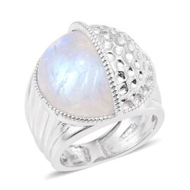 GP Rainbow Moonstone and Kanchanaburi Blue Sapphire Ring in Platinum Overlay Sterling Silver 13.020 Ct. Silver wt 13.50 Gms.