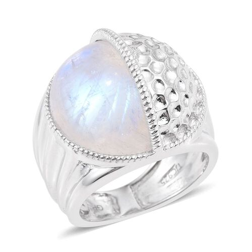 GP Rainbow Moonstone and Kanchanaburi Blue Sapphire Ring in Platinum Overlay Sterling Silver 13.020 Ct. Silver wt 13.20 Gms.