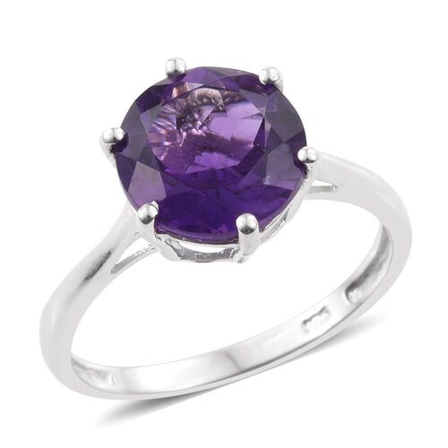 Amethyst 3.25 Ct Silver Solitaire Ring in Platinum Overlay
