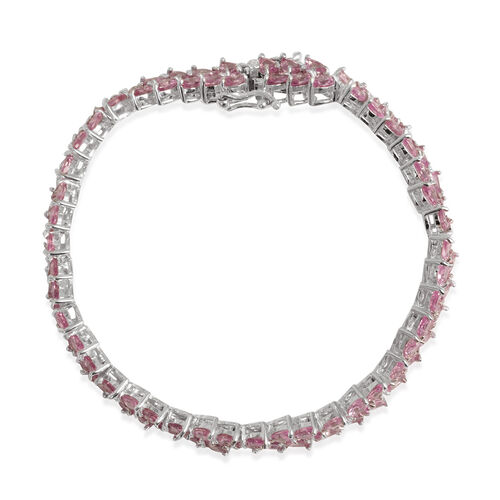 AAA Pink Sapphire (Pear) Bracelet in Rhodium Plated Sterling Silver (Size 7) 14.000 Ct.