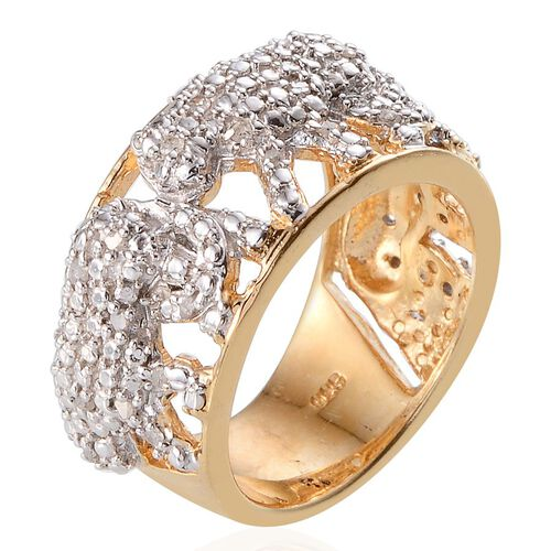 Diamond (Rnd) Tiger Ring in 14K Gold Overlay Sterling Silver 0.250 Ct.