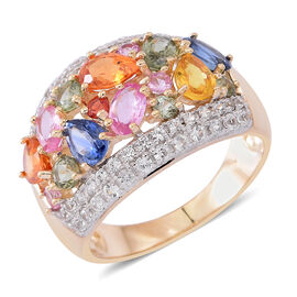 Limited Edition-9K Yellow Gold AAA Rainbow Sapphire (Pear), Natural White Cambodian Zircon Cocktail Ring 4.350 Ct.Gold Wt 5.25 Gms
