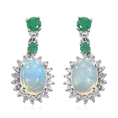 Ethiopian Welo Opal (Ovl), Natural Cambodian Zircon and Kagem Zambian Emerald Earrings (with Push Back) in Platinum Overlay Sterling Silver 3.500 Ct.