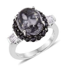 Austrian Pinolith (Ovl 4.65 Ct), Boi Ploi Black Spinel and White Topaz Ring in Platinum Overlay Sterling Silver 6.000 Ct.