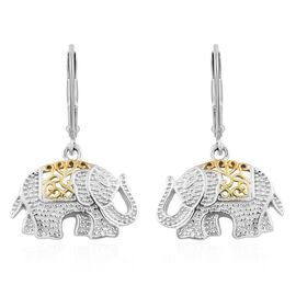 Thai Sterling Silver Platinum and Yellow Gold Overlay Elephant Lever Back Earrings, Silver wt. 3.36 Gms.