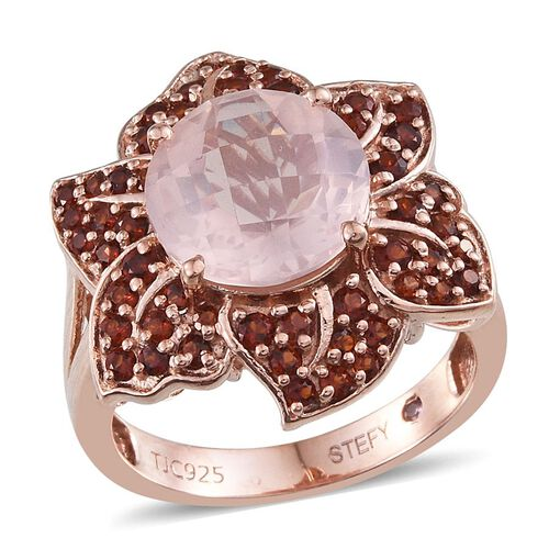 Stefy Rose Quartz (Rnd 5.50 Ct), Mozambique Garnet and Pink Sapphire Floral Ring in Rose Gold Overlay Sterling Silver 7.010 Ct.
