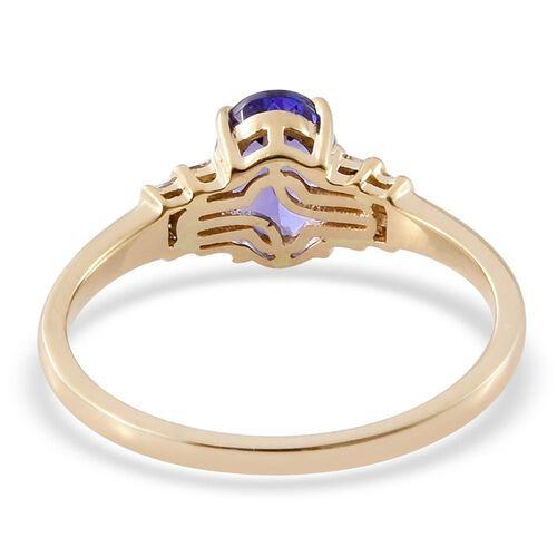 ILIANA 18K Y Gold AAA Tanzanite (Ovl 1.35 Ct), Diamond (SI/G-H) Ring 1.500 Ct.