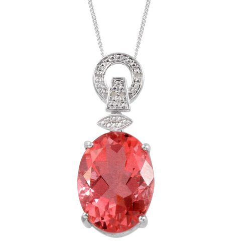 Padparadscha Colour Quartz (Ovl 19.50 Ct), Diamond Pendant with Chain in Platinum Overlay Sterling Silver 19.520 Ct.