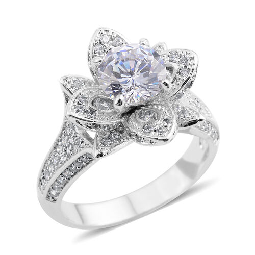Simulated Diamond (Rnd) Floral Ring in Silver Bond