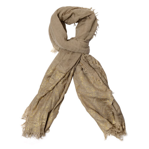 Khaki Colour Scarf with Golden Design at Bottom (Size 210x95 Cm)