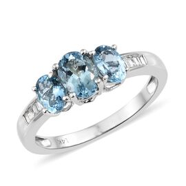 Collectors Edition-14K White Gold AA Santa Maria Aquamarine (Ovl), Diamond Ring 1.650 Ct. Gold Wt 3.09 Gms