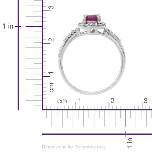 ILIANA 18K W Gold Burmese Ruby (Rnd 0.85 Ct), Diamond Ring 1.000 Ct.