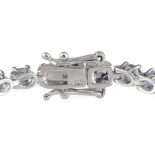 AA Tanzanite (Ovl), White Topaz Bracelet (Size 6.5) in Platinum Overlay Sterling Silver 10.250 Ct.