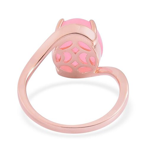 Pink Jade (Ovl) Solitaire Ring in Rose Gold Overlay Sterling Silver 6.000 Ct.