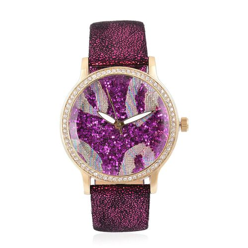 STRADA Japanese Movement Pink Stardust Dial Watch with White Austrian Crystal in Yellow Gold Tone with Stainless Steel Back