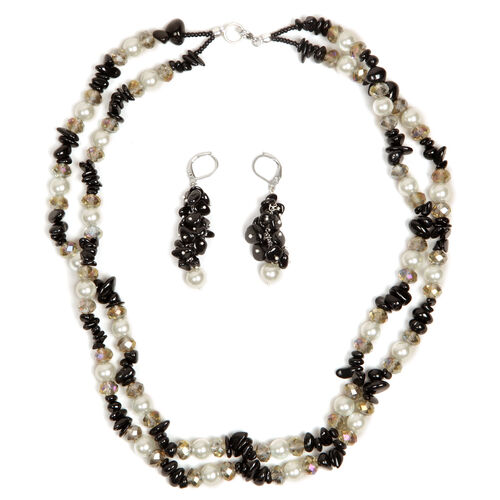 Glass Pearl, Australian Black Tourmaline and Glass Necklace (Size 20) and Lever Back Earrings in Silver Tone with Stainless Steel 301.180 Ct.