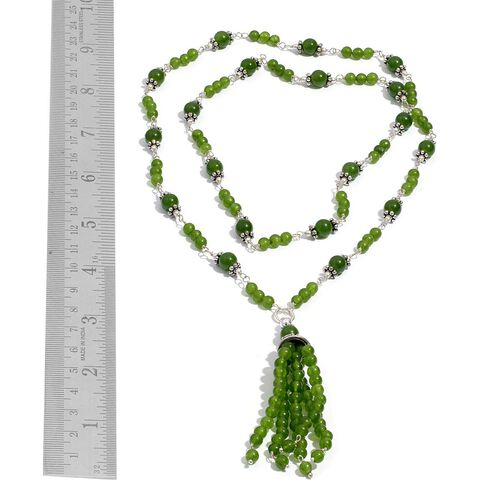 Green Quartzite Necklace (Size 28) in Silver Tone 48.650 Ct.