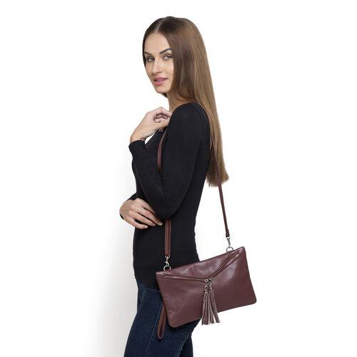 Genuine Leather Burgundy Colour Sling Bag with External Zipper Pocket and Adjustable Shoulder Strap
