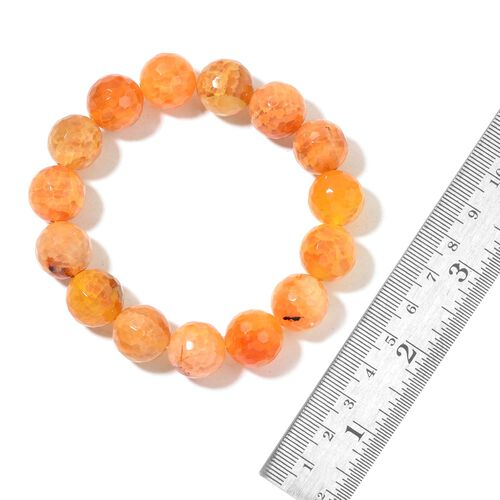 Rare Size Orange Agate Necklace (Size 18) and Stretchable Bracelet (Size 6 to 8.5) in Silver Tone 780.000 Ct.