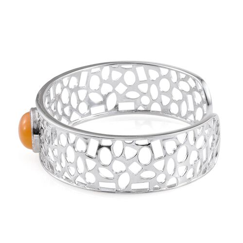 Yellow Jade (Ovl) Cuff Bangle (Size 7.5) in ION Plated Platinum Bond 9.750 Ct.