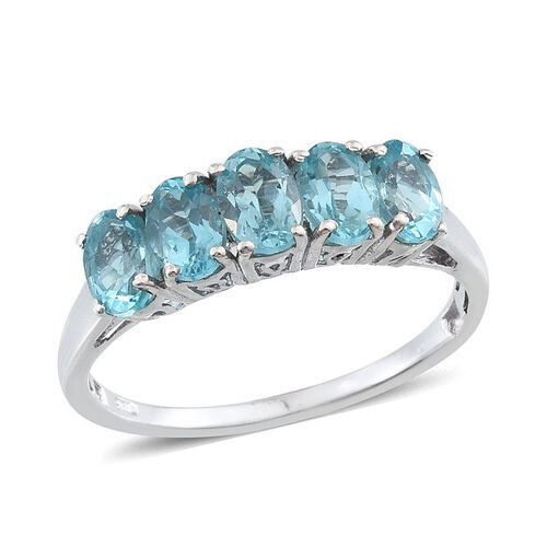 Paraibe Apatite (Ovl) 5 Stone Ring in Platinum Overlay Sterling Silver 2.500 Ct.