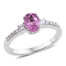 RHAPSODY 950 Platinum AAAA Pink Sapphire (Ovl 1.07 Ct), Diamond (VS/E-F) Ring 1.250 Ct.