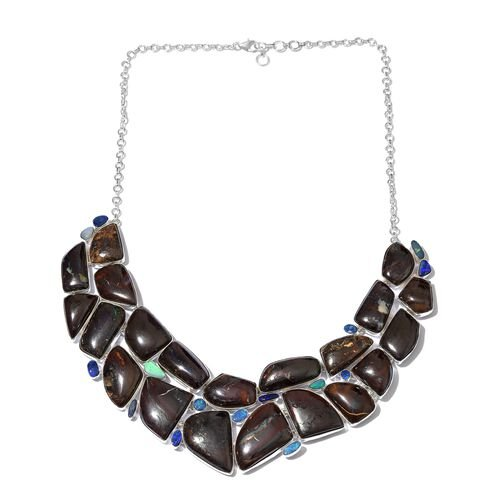 Boulder Opal Rock and Opal Double Necklace (Size 18 with 1 inch Extender) in Sterling Silver 524.360 Ct.