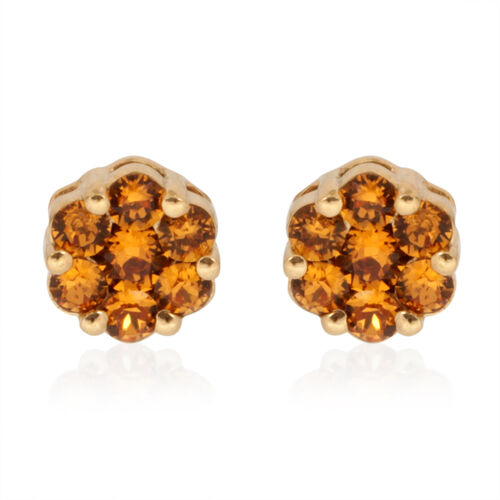 Crystal from Swarovski - Topaz Colour Crystal (Rnd) Stud Earrings (with Push Back) in 14K Gold Overlay Sterling Silver