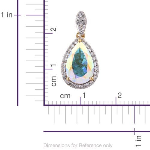 Mercury Mystic Topaz (Pear 3.70 Ct), Natural Cambodian Zircon Pendant in 14K Gold Overlay Sterling Silver 4.000 Ct.
