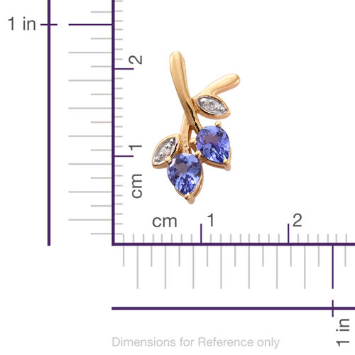 Tanzanite (Pear), Diamond Flower Buds Pendant in 14K Gold Overlay Sterling Silver 0.600 Ct.