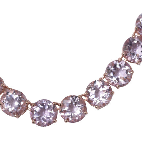 Rose De France Amethyst (Rnd) Necklace (Size 18) in Rose Gold Overlay Sterling Silver 120.000 Ct. Silver wt. 34.22 Gms.